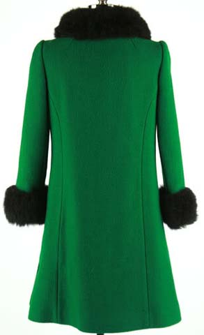 Vintage 60s Eastex Bottle Green Wool and Fur Collar Double Breasted Mod Princess Coat