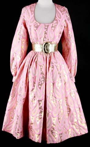 60s Oscar de la Renta Pink Metallic Mod Dress